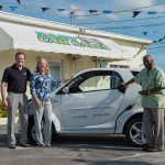 (L-R) Kent Rathwell, President and Founder Sun Country Highway Ltd; Pia Farmer, Proprietor Easy Car Sales; and John Felder, President and CEO of Cayman Automotive Leasing at the launch of the Bahamas electric car sales